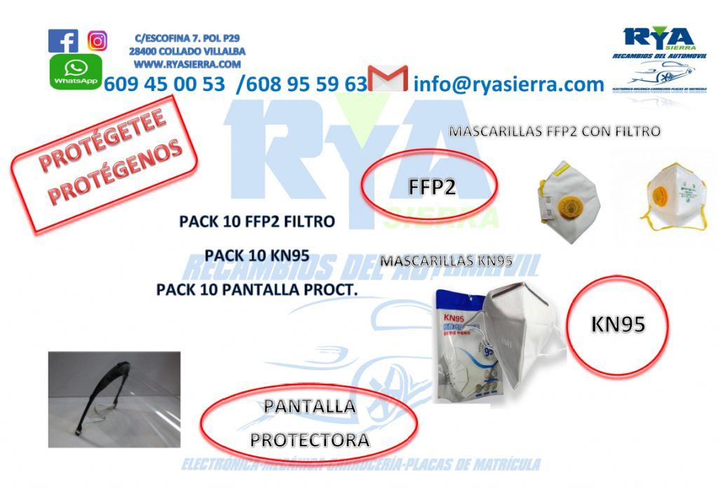 mascarillas FFP2, mascarillas KN95 y pantallas protectoras covid 19