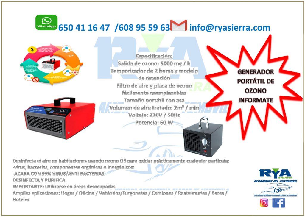 RyA Sierra: Generador portátil de ozono